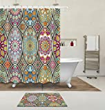 Gothic Church Cathedral Mandala Colorful Stained Glass Decor Shower Curtain Polyester Fabric 3D Digital 60x72'' Mildew Resistant Round Mosque Window Flower Bathroom Bath Curtain Liner Bath Mat