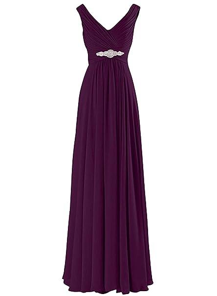 ASVOGUE Mujer Prom Vestido Largo de Noche Gasa A-Línea Cuello V Elegante, Púrpura