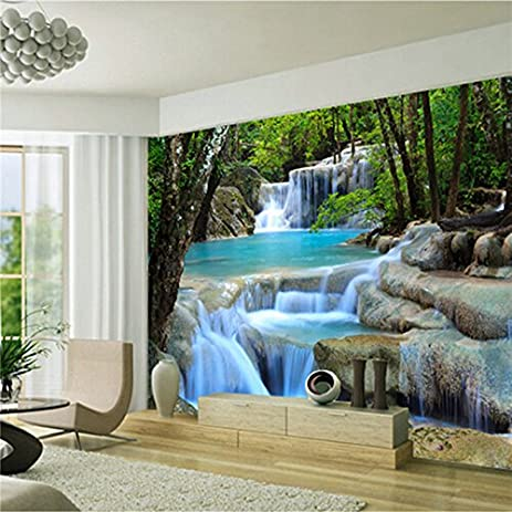 Large 3D 3D Wallpaper Mural Blue Landscape Waterfall Forest Background  Bedroom TV Background Wall