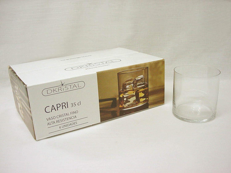 Dkristal Lote 6 Vasos Cristal Duro Capri Whisky Agua ETC 350ML PEQUEÑO: Amazon.es: Hogar