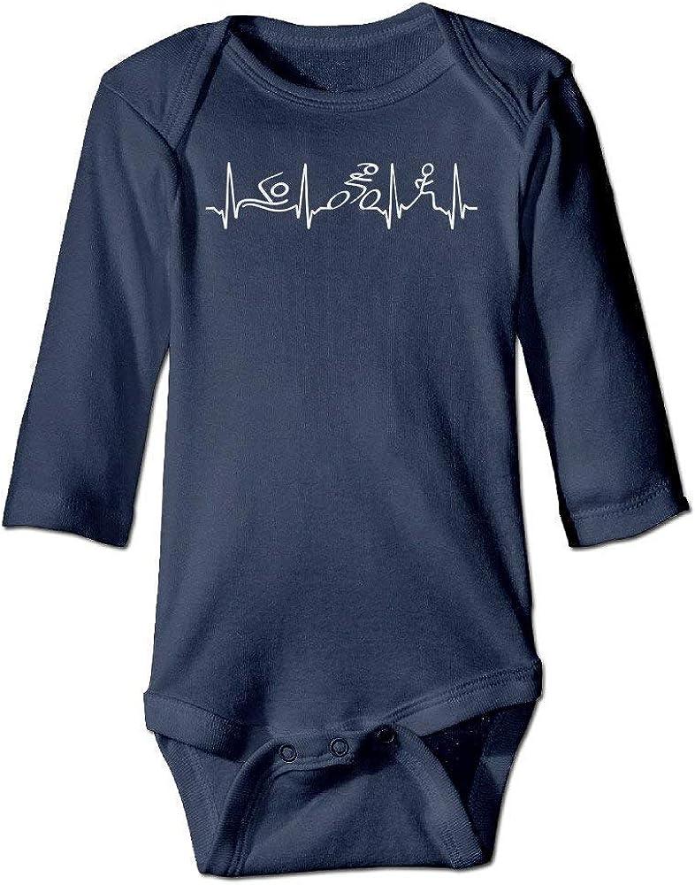 Triathlon Heartbeat Infant Baby Girl Boy Romper Jumpsuit Short Sleeved Bodysuit Tops Clothes