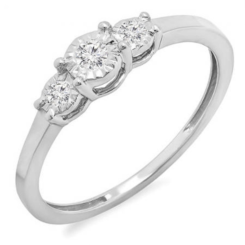 0.20 Carat (ctw) Sterling Silver Round Diamond Ladies 3 Stone Engagement Promise Ring 1/5 CT (Size 8)