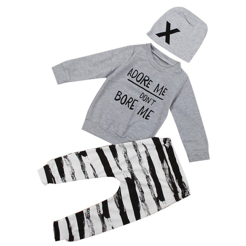 Moginp Neugeborene Baby Kinder Jungen Outfit Kleidung Brief Print T-Shirt Tops + Streifen Hose + Hut Set