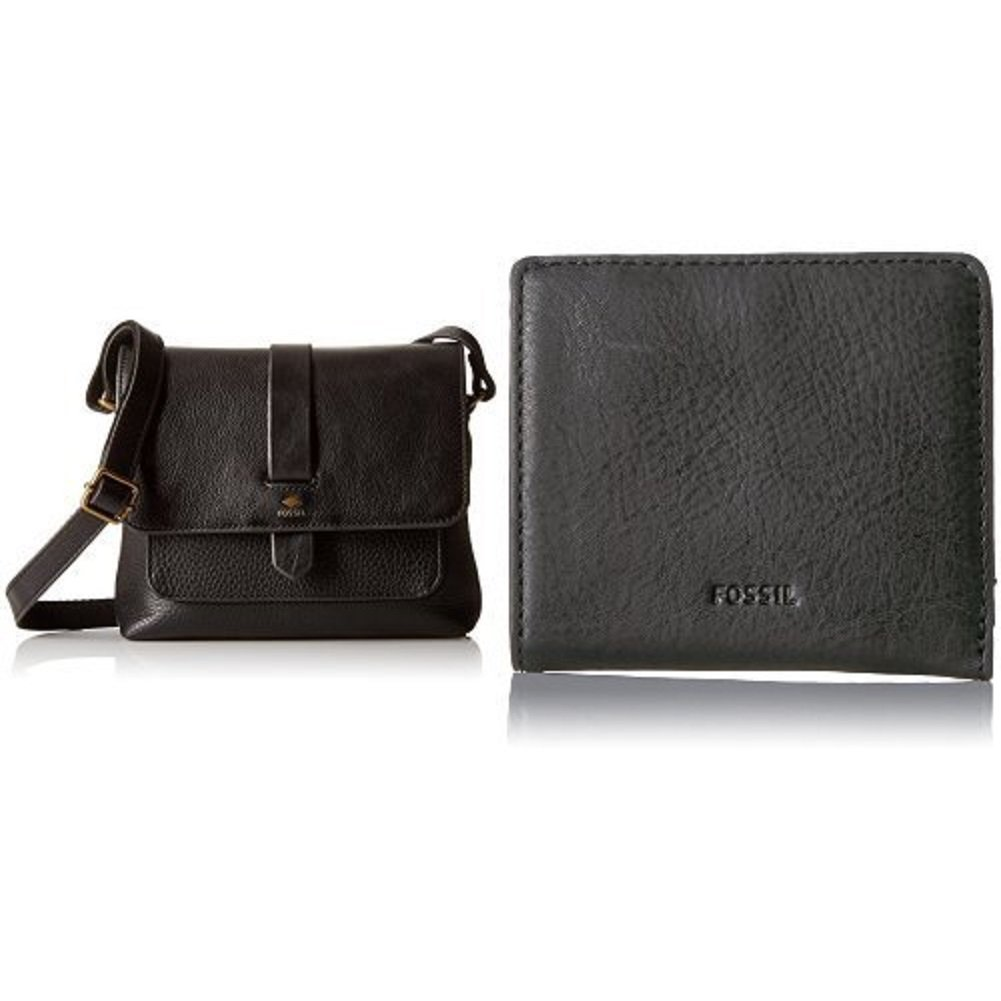 Fossil Kinley Small Crossbody Bag, Black with Emma Mini Rfid Wallet