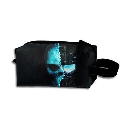 Travel Bag Blue Ire Skull Toiletry Bag Clash Durable Zipper Wallet Makeup Handbag With Wrist Band