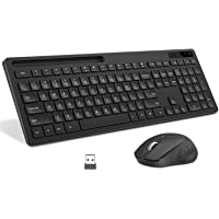 Wireless Keyboard and Mouse, seenda 2.4GHz Silent USB Wireless Keyboard Mouse Combo with Phone Holder, Full-Size Keyboard and Mouse Set for Computer, Desktop and Laptop - Black
