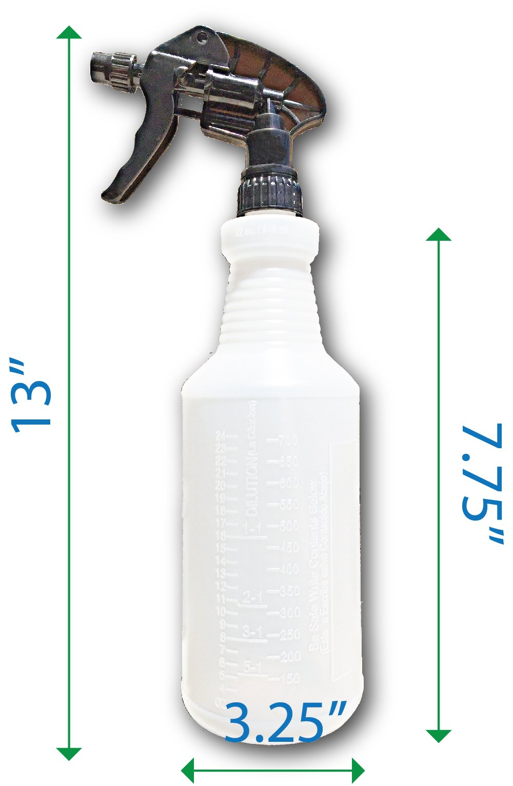 Industrial Large Spray Bottles for Cleaning Solutions - Measurement Graduations - Chemical Resistant - Extra Large 32 oz - Leak Resistant - Car Detailing - Janitorial by S & E Packaging (Image #2)