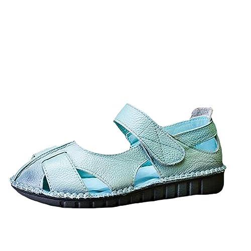 magasin en ligne f9208 ff55f Vogstyle Femme Sandales Spartiates Cuir Vintage Chaussures de Marche Bout  Fermé Eté Talon Plat Forme à Verlcro