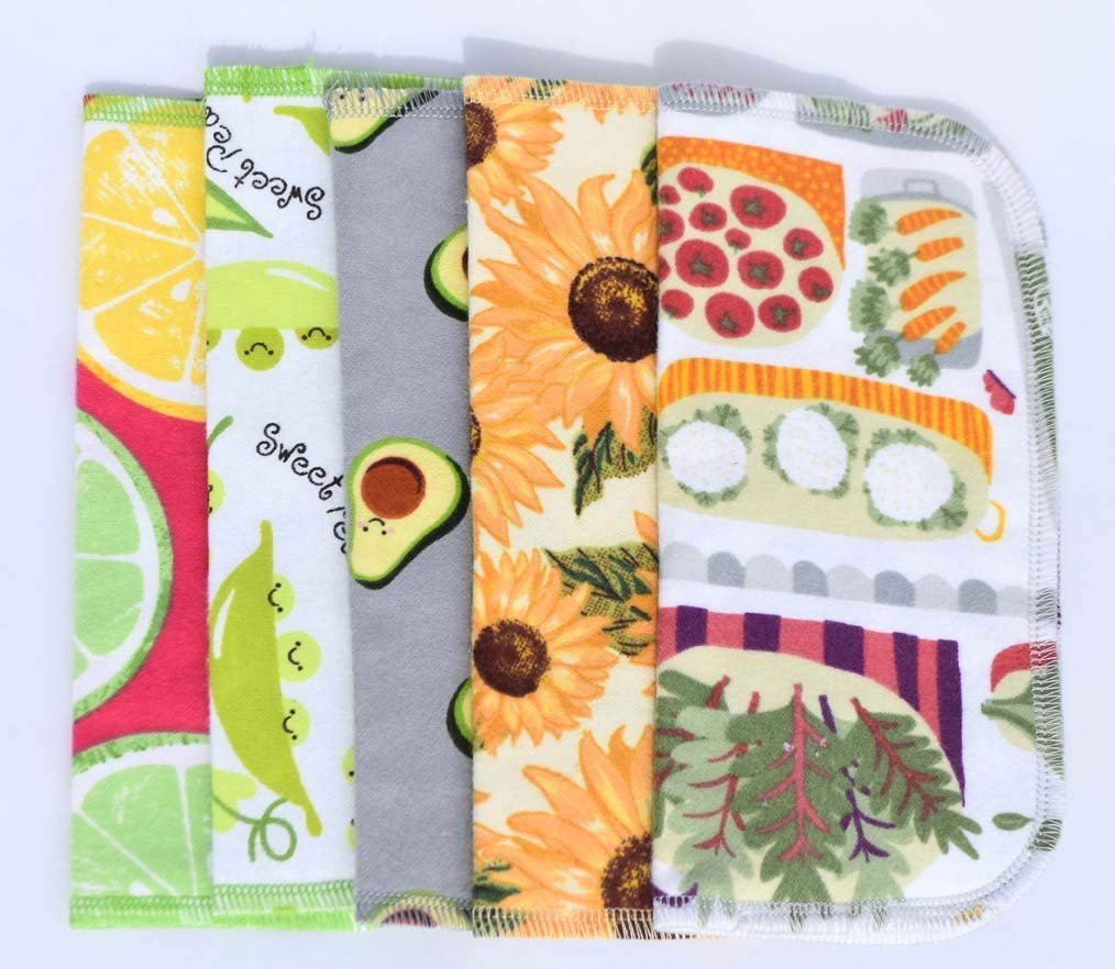 2 Ply Printed Flannel Washable. Farmers Market- Set Napkins 8x8 inches 5 Pack - Little Wipes (R) Flannel