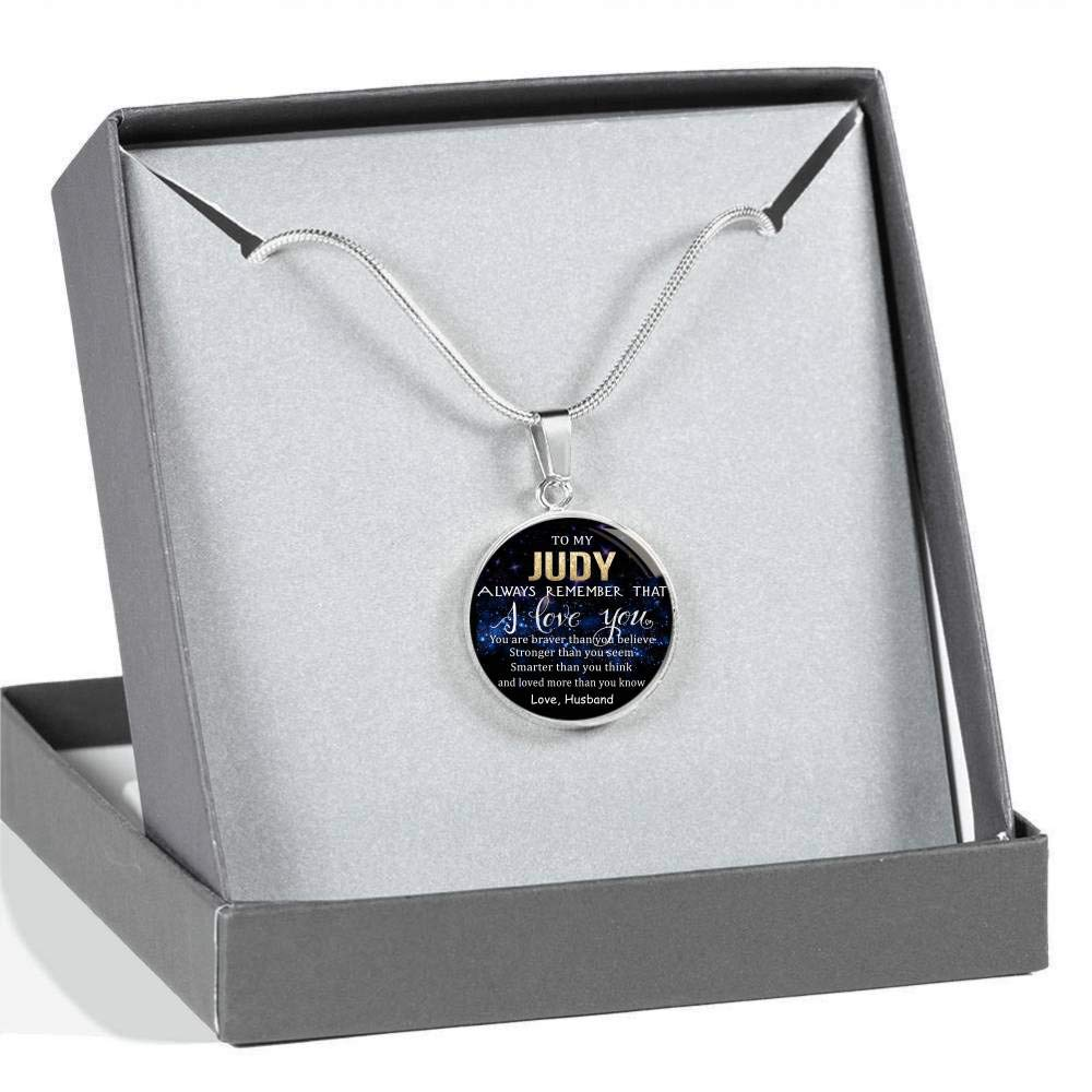 Stronger Than Seem to My Judy Always Remember That I Love You Braver Than Believe Loved Than Know Smarter Than Think Love Husband Wife Valentine Gift Birthday Gift Necklace Name