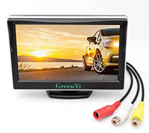 "GreenYi Vehicle On-Dash Backup Monitor, 5"" Digital HD Car TFT LCD Color Screen Display with 2 Video Input for Rear View Camera"