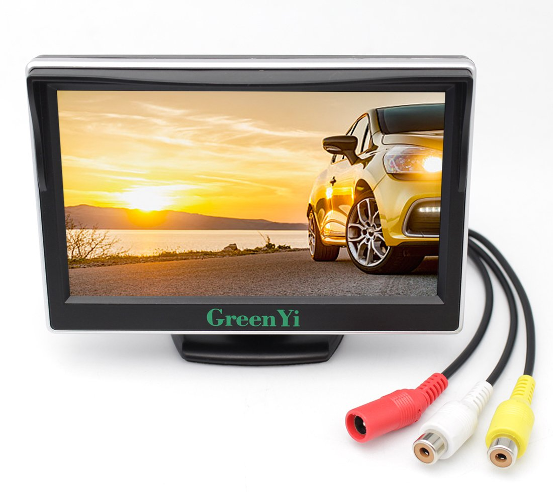 GreenYi Vehicle On-dash Backup Monitor, 5'' Digital HD Car TFT LCD Color Screen Display with 2 Video Input for Rear View Camera