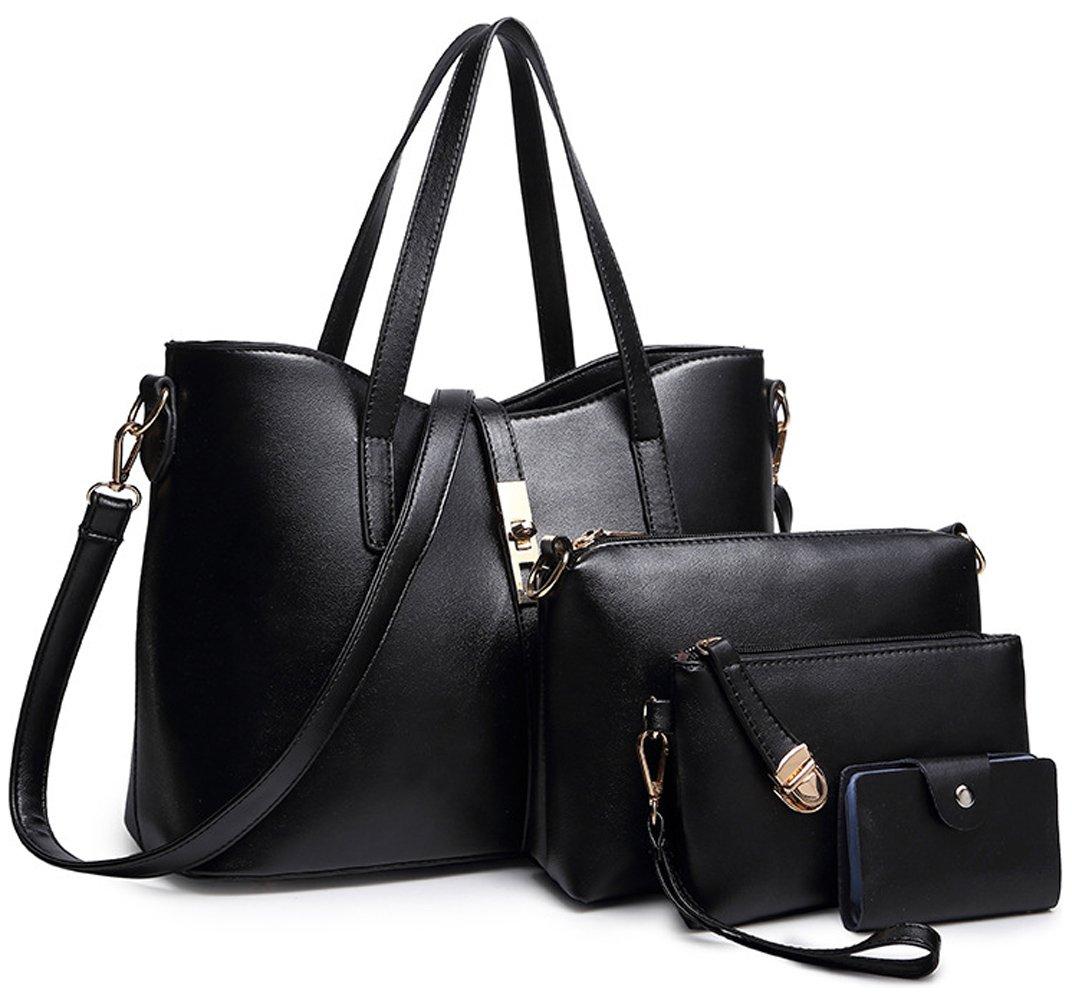 Tibes Fashion Women's PU Leather Handbag+Shoulder Bag+Purse+Card Holder 4pcs Set Tote Large Black
