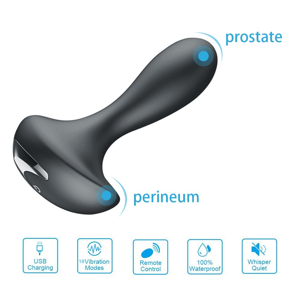 Prostate Massager Vibrators- Prostate Stimulator with Remote Control- Rechargeable 10 Vibration Modes- Waterproof Anal Plug Adult Sex Toys for Couple