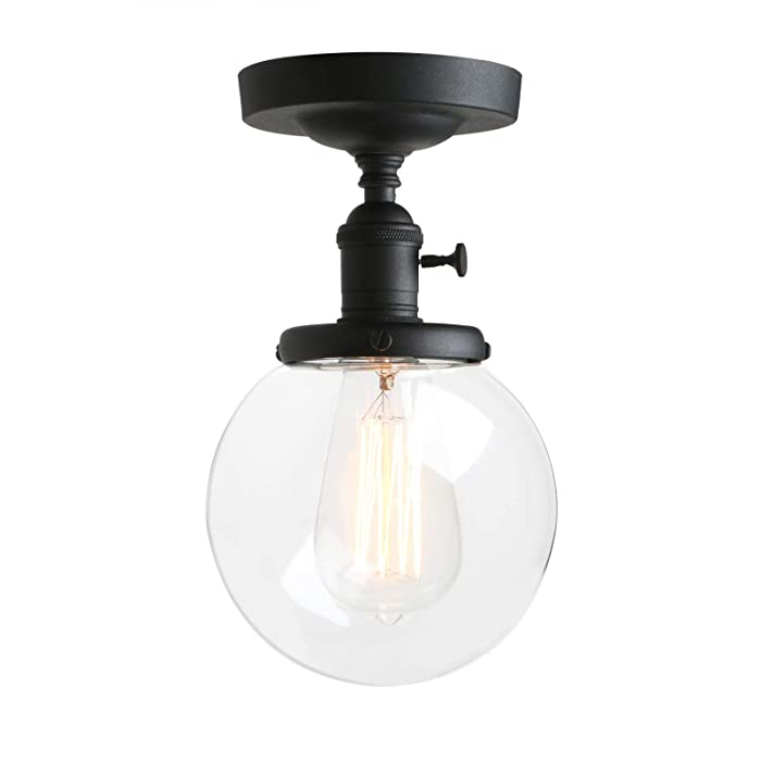 Pathson Industrial Semi-Flush Mount Ceiling Light, Vintage Style Pendant Lighting, Glass Shade Hanging Light Fixtures for Laundry Room Living Room Cafe Bar
