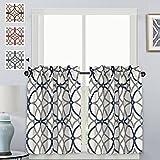 H.VERSAILTEX Thermal Insulated Elegant Curtain Drapes Room Darkening Rod Pocket Kitchen Curtain Tier Set - Grey and Navy Geo Pattern - (58' W x 36' L Pair)