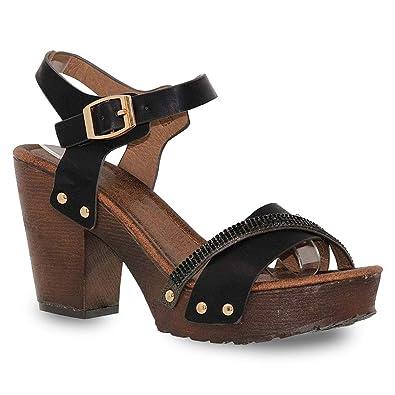 f406f513e Z. Emma Women's Open Toe Ankle Strap Rhinestone Decor Wooden Chunky  Platform Heeled Summer Sandals
