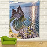 Vipsung House Decor Tapestry_Travel Decor By Shaman Rock Lake Baikal In Russia Coastal Theme Sun Rays Scenic Vista Green Brown Blue_Wall Hanging For Bedroom Living Room Dorm