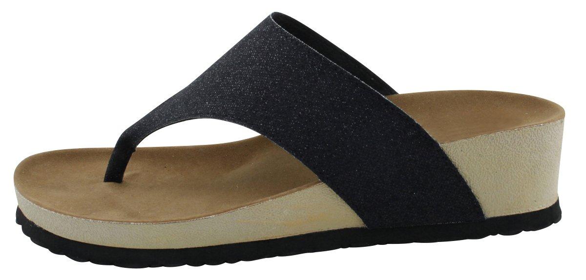 Cambridge Select Women's Flip-Flop Slip-On Thong B078SDBG2M Mid Wedge Heel Sandal B078SDBG2M Thong 8 B(M) US|Black 5e34c9