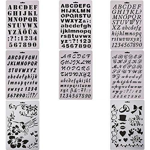 (MAMUNU 8 PCS Bullet Journal Stencil Template Sets, Alphabet Letter Drawing Painting Stencils Template for Planner/Notebook/Diary/Scrapbooking/Journaling/Graffiti/Card Drawing Painting Craft Projects )