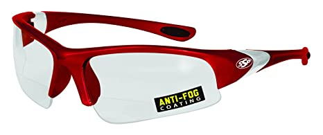 f15a9701416 Image Unavailable. Image not available for. Color  SSP Eyewear Chef Shades  3.00 Bifocal Reading Glasses with Red Frames and Clear Anti-Fog