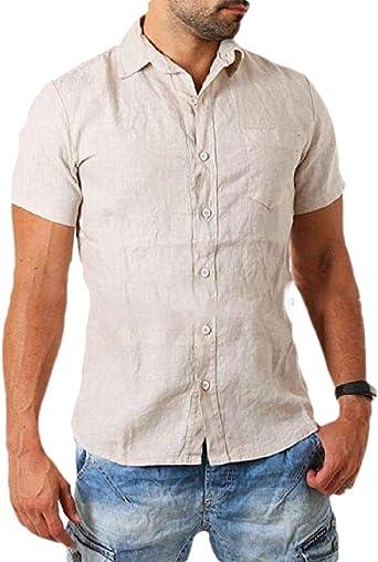 SOWTKSL - Camisa de Manga Corta para Hombre (algodón y Lino ...