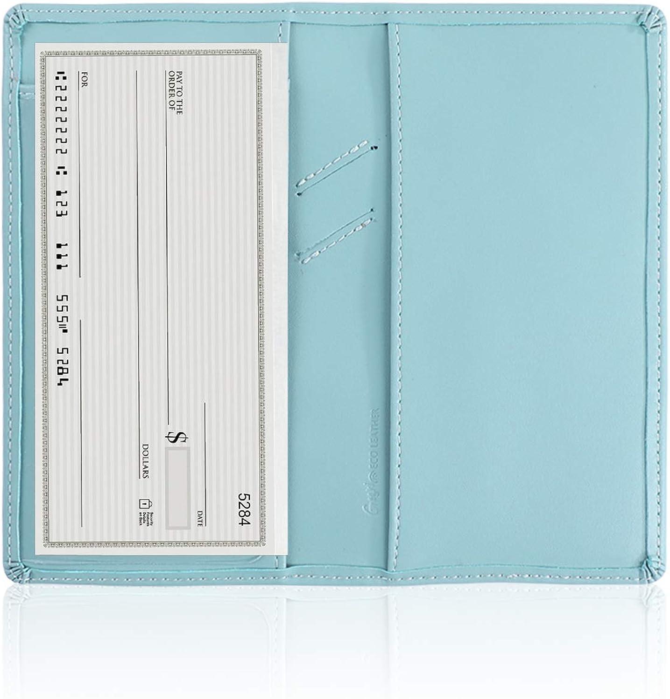 GNEGNI Leather Checkbook Cover with Built-in Divider Pen holder For Men Women Checkbook Holder Wallet RFID Blocking