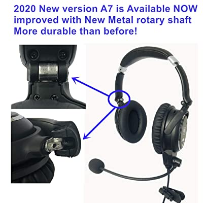 UFQ A7 ANR Aviation Headset- 2020 Version with Metal Shaft More Durable -A7 Could be a Small Version Boss A-20 BUT More Comfortable Clear Communication Great Sound Quality for Music with MP3 Input: GPS & Navigation
