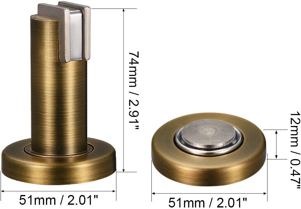 uxcell Zinc Alloy Door Magnetic Catch Holder Stopper Doorstop Brushed Conceal Screw Floor Mount Brass