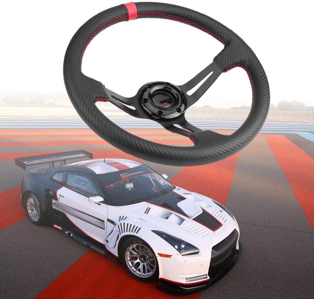 Red 14in Universal Aluminium Schwarz Rahmen Kohlefaser Auto Lenkrad W//Horn Racing Lenkrad Lenkrad Racing Wheel 35mm