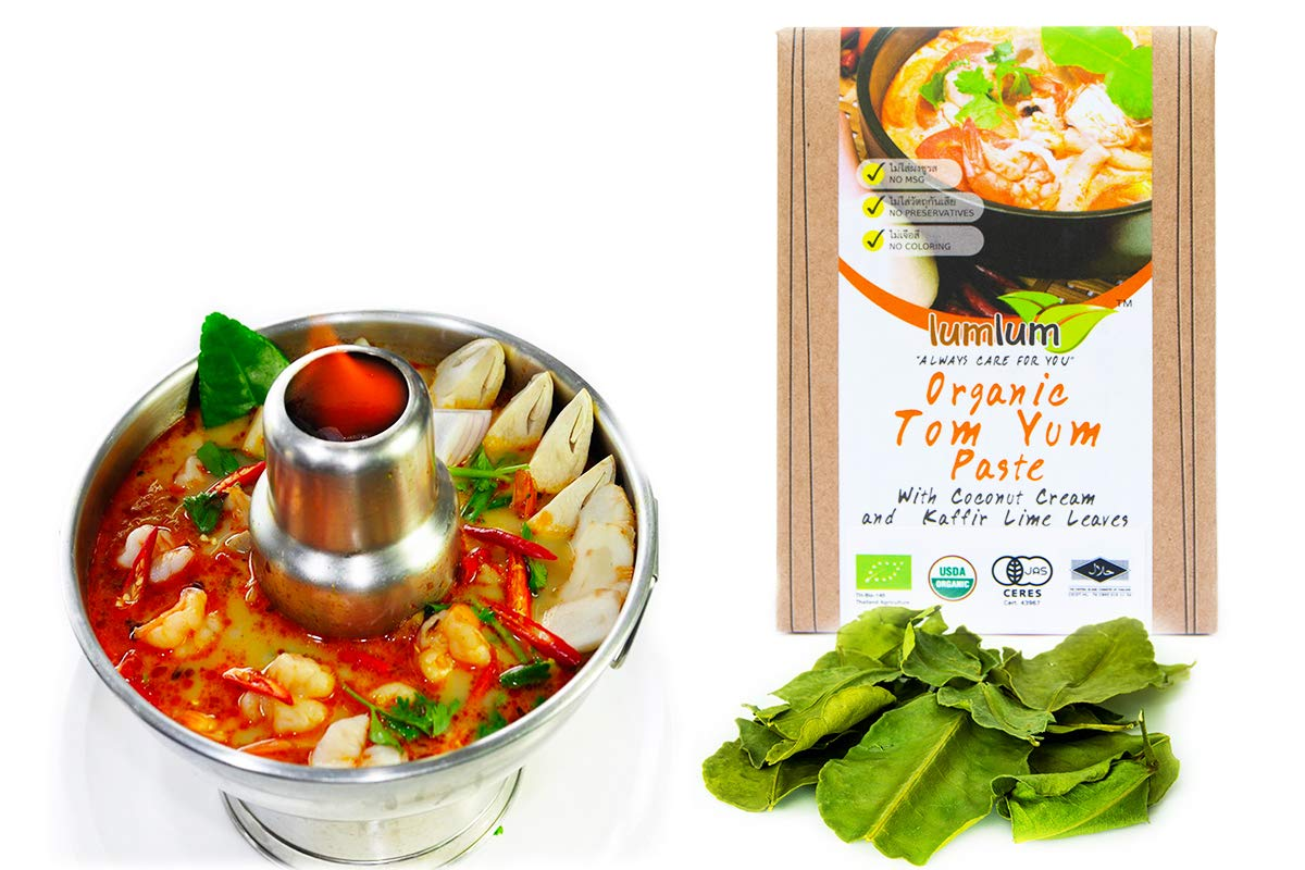 Saengla OrganicTom yum Paste set Thai Food Hot & Spicy Soup With Coconut Cream Kaffir Lime Leaves 2x