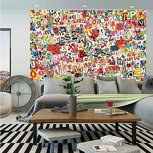 SoSung Old Newspaper Decor Wall Mural,Various Kinds of Newpaper Magazine Letters Cutouts Alphabet Collection Decorative,Self-Adhesive Large Wallpaper for Home Decor 55x78 inches,Multicolor