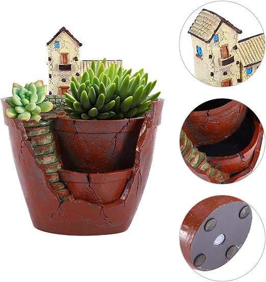 Maceta de Resina Maceta de Planta Diseño de Jardín Maceteros Contenedores de Bricolaje, Olla Innovadora Decorada para Decoración de Vacaciones y Regalo: Amazon.es: Jardín