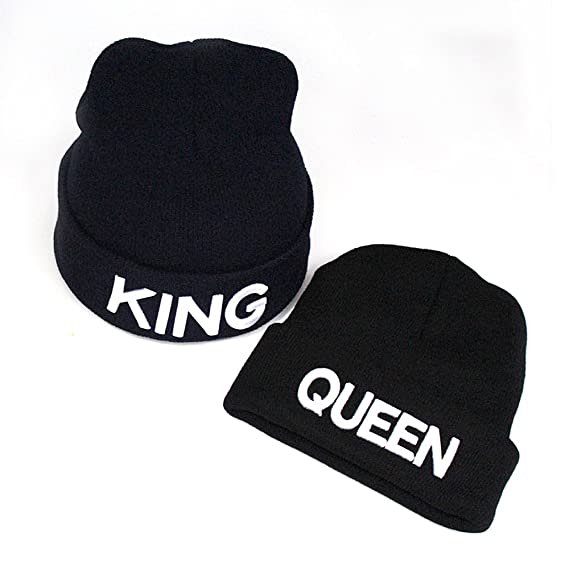 Amazon.com: 1 Pair Unisex Fashion Lovers Couple Warm Beanie Knitted Knit Hat with QUEEN And KING: Sports & Outdoors