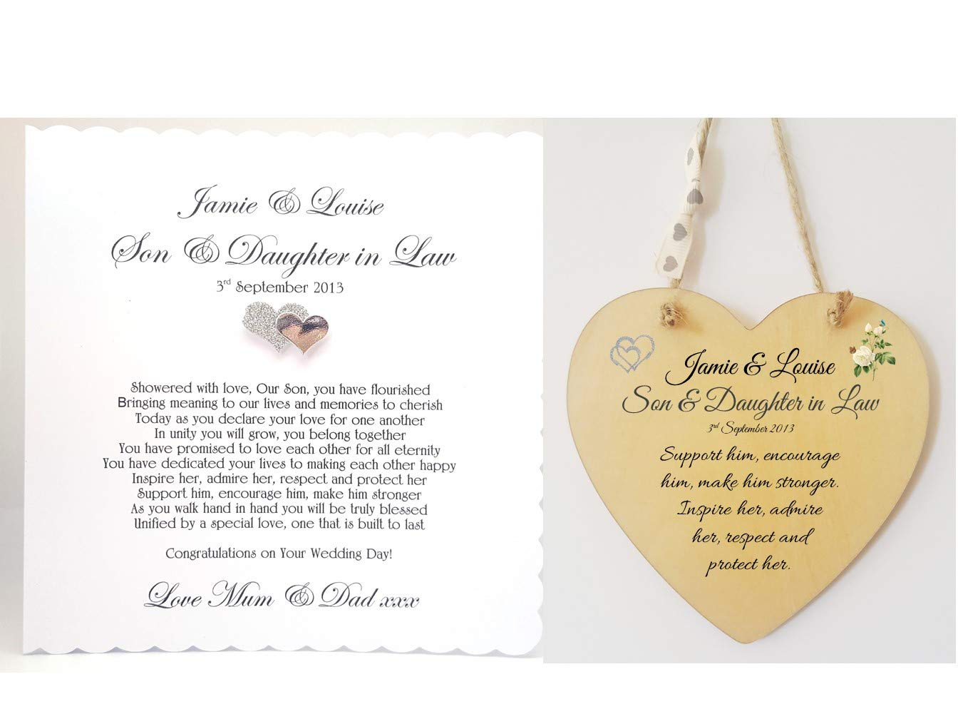 Personalised Son And Daughter In Law Wedding Poem Card And Heart
