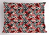 Lunarable Casino Pillow Sham, Checkered Rhombus Pattern with Playing Card Icons Grunge Display Gaming Club Theme, Decorative Standard Queen Size Printed Pillowcase, 30 X 20 Inches, Multicolor