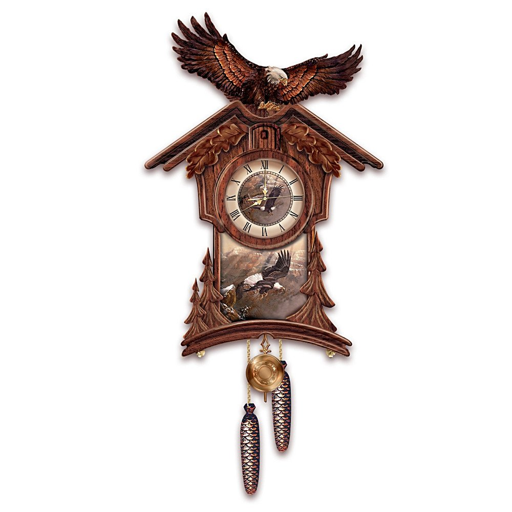 Amazon timeless majesty collectible cuckoo clock with bald amazon timeless majesty collectible cuckoo clock with bald eagle art by the bradford exchange home kitchen amipublicfo Image collections
