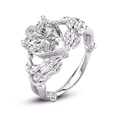 Amazon.com: HOTSKULL 925 Sterling Silver Skull Ring Claddagh Heart ...