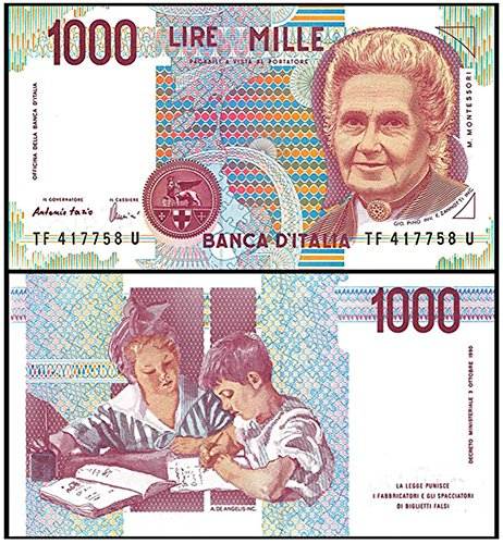 1990 IT GEM UNCIRC ITALY 1000 LIRE BILL w FOUNDER OF MONTESSORI SCHOOLS! OUT OF PRINT 28 YEARS! BEAUTIFUL NOTE! 1000 LIRE Germ Crisp Uncirculated