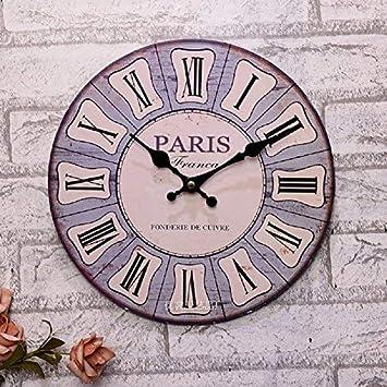 f70e008e08767e Babimax Vintage Style Chic minable Maison 30cm Silencieux en Bois Horloge  Murale Ronde en Bois Arabe