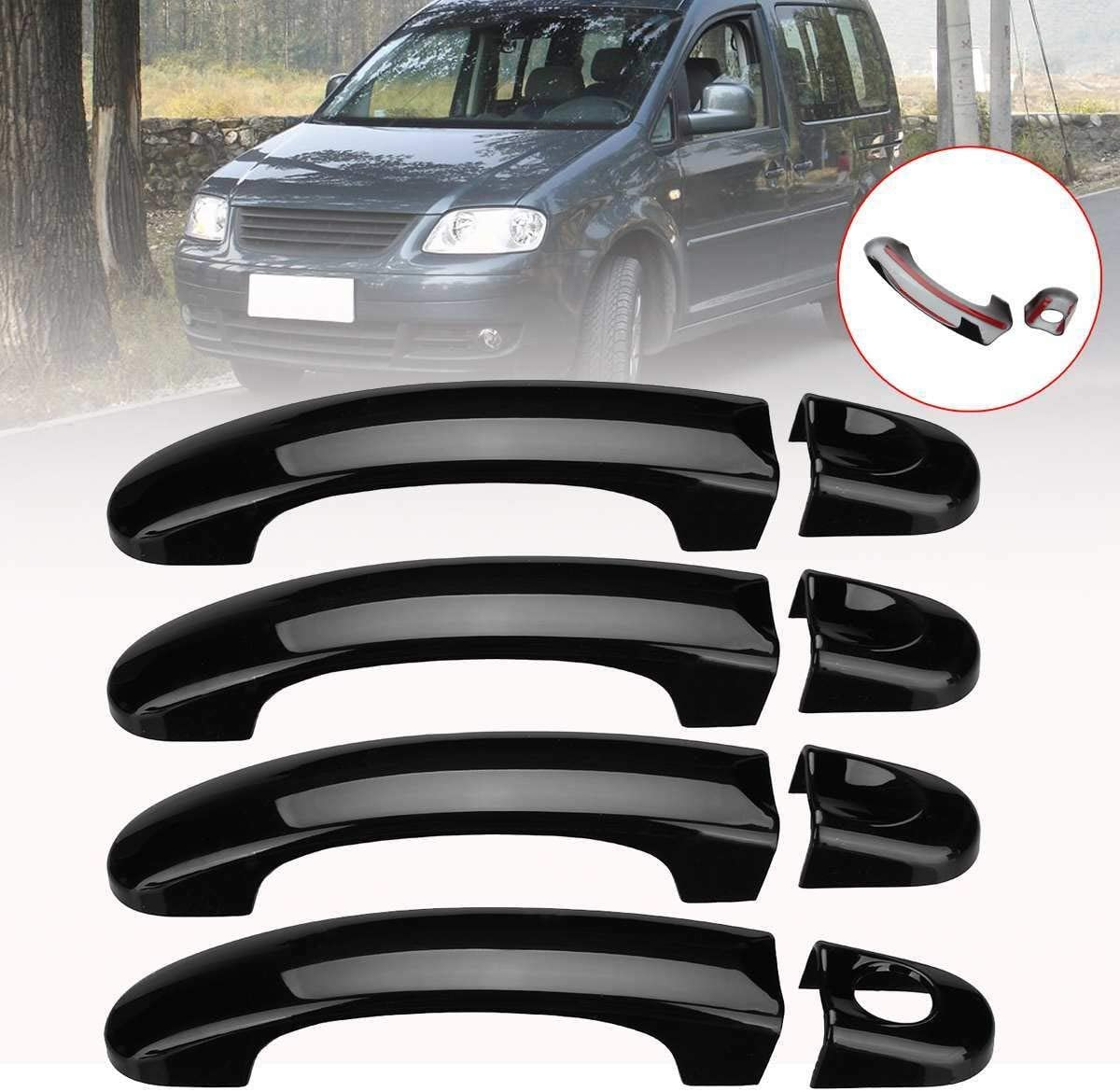 NO LOGO FJY-HANDLE 1 Set Car Door Handle Covers Trim For VW Transporter T5 T6 2003-2009 Car Exterior Door Handles ABS Gloss Black//Carbon Black Color : A