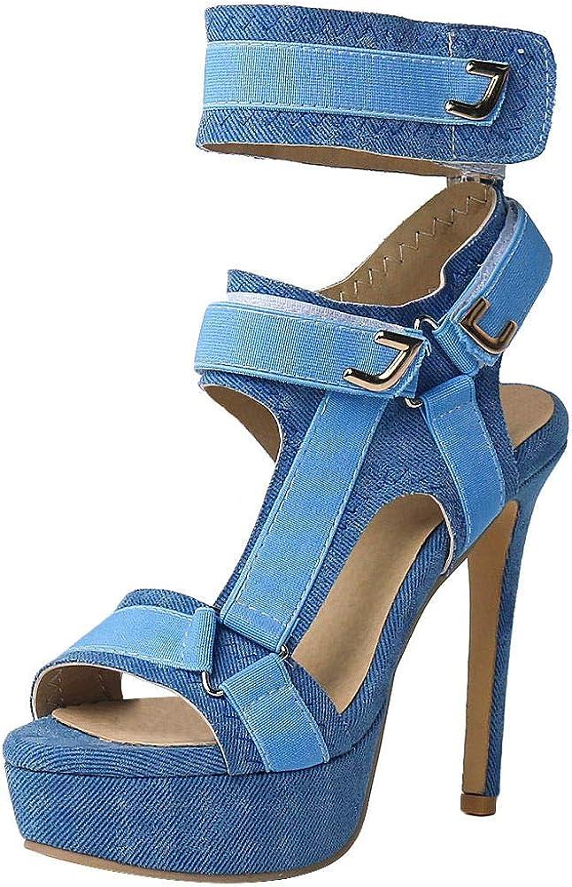 Women Platform Open Toe Stiletto Slip On Pumps High Heel Club Party Sandal Shoes