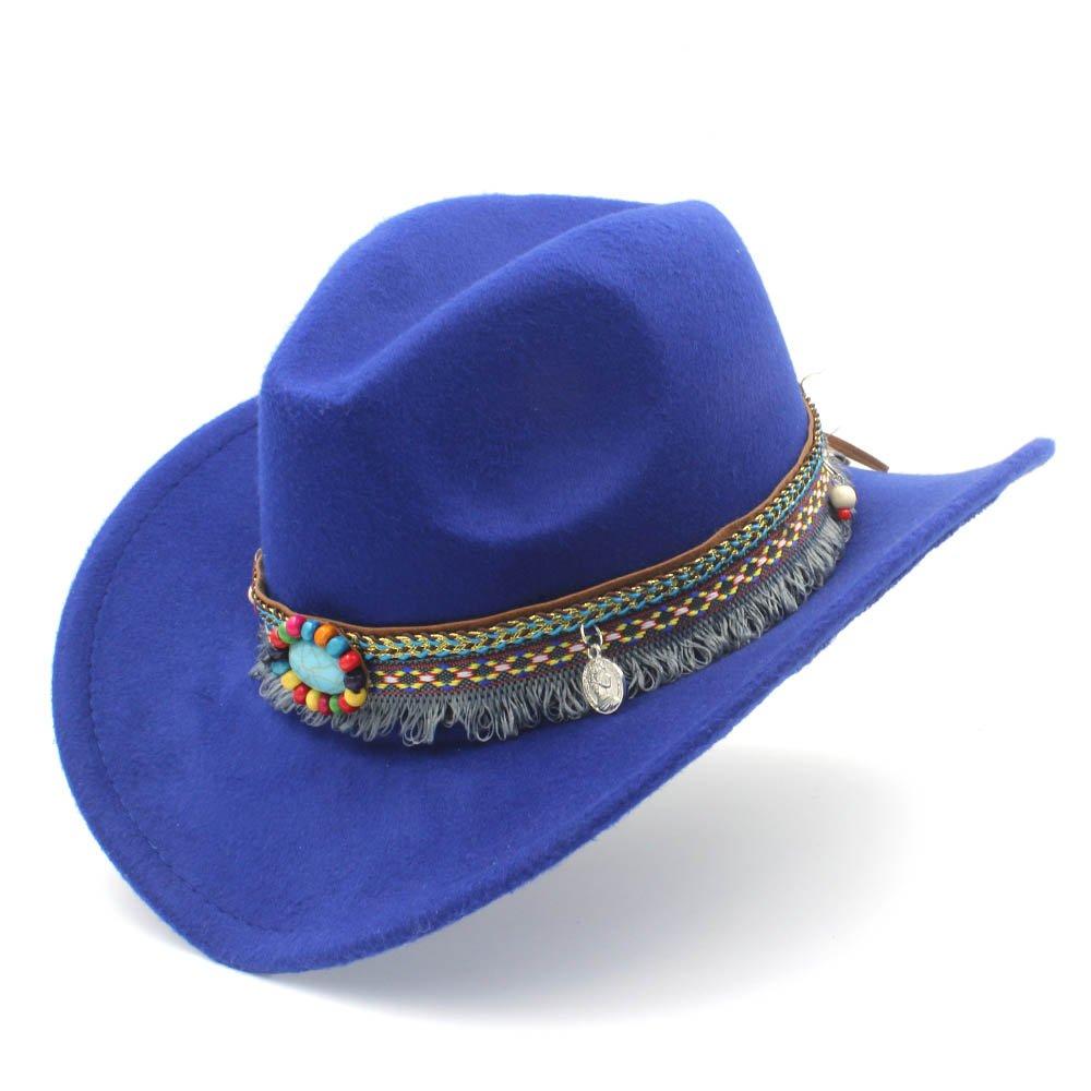 MXNET Western Cowboy Hut, Mode Frauen Männer Hut mit Quaste Dekoration fühlte Cowgirl Sombrero Caps für Unisex Größe : 56-58CM)