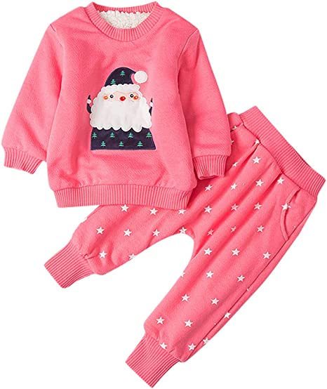 Santa Baby Filles Noël costumes de vêtements haut pantalon chapeau épais velours hiver 3pc