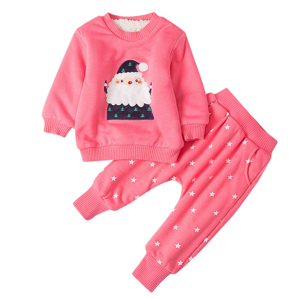 RoDeke Girl Baby Winter Coats Jacket Kid Thick Snowsuit Christmas Tops+Pants Outfits Pink by RoDeke-Baby suit