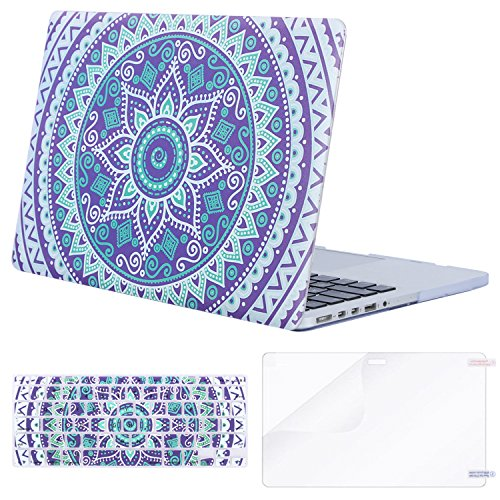 MOSISO Plastic Pattern Hard Case Only Compatible MacBook Pro (W/O USB-C) Retina 13 Inch (A1502/A1425)(W/O CD-ROM) Release 2015/2014/2013/end 2012 & Keyboard Cover & Screen Protector, Purple Mandala