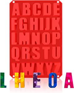 26 Cavities Alphabet Silicone Mold,DIY Crayon Letters Molds, Silicone Letter Baking Mold for Chocolate,Cake,Biscuit,Candy,Jello,Candles,Ice,Name Crayons,Resin Letters,Kitchen Cake Pans (1 Pack)