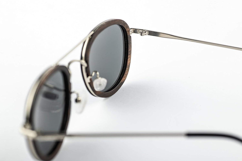 TAC Brillengl/äser Coco Sonnenbrille aus Edelstahl und dunklem Sandelholz