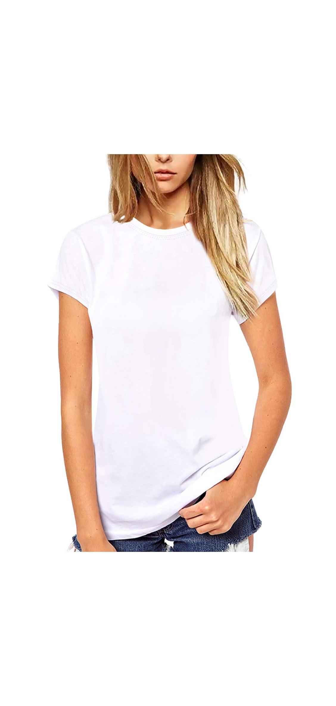 Women T Shirt Cute Crew Neck Tee Casual Blouse
