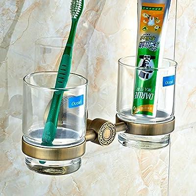 Fuda en cobre verde bronce vidrio cristal doble para cepillo de dientes Soportes Accesorios para baño